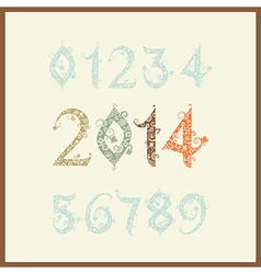New year 2014 two thousand and thirteen set of vector