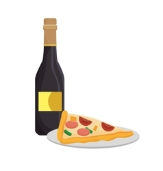 pizza and wine bottle vector image