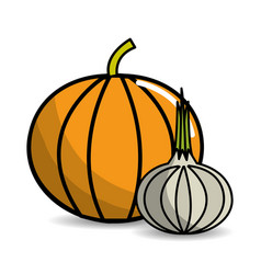Pumpkin and garlic vegetable icon vector