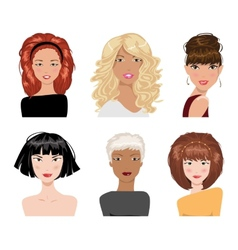Set of female hair style collection vector
