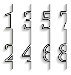Set of numbers with long shadow vector image vector image