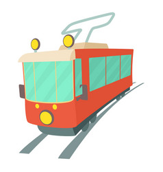 Tram icon cartoon style vector