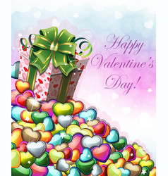 valentines day gift with green bow vector image