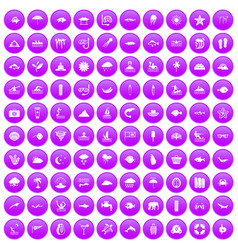 100 diving icons set purple vector