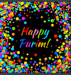 Purim carnival text with colorful paper confetti vector