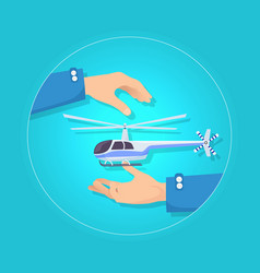 Fast blue and gray helicopter on blue background vector