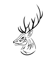 Handdrawn sketchy deer head contour vector