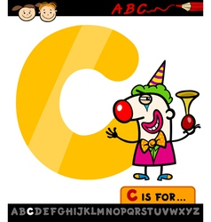 Letter c with clown cartoon vector