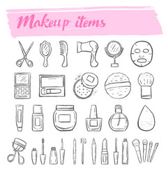 makeup kit doodle icon set vector image