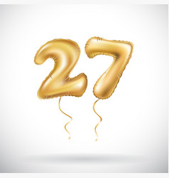 golden number 27 twenty seven metallic balloon vector image
