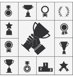 Set of trophy and award icons vector image