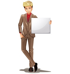 A man holding an empty signboard vector image