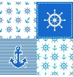 Set marine wheel and anchor seamless vector