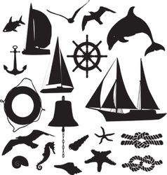 Set of silhouettes symbolizing the marine leisure vector