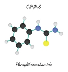 C7h8n2s phenylthiocarbamide molecule vector