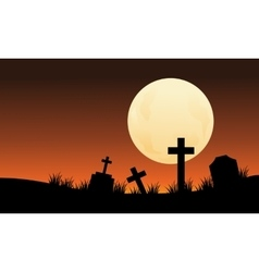 Silhouette of graveyard and full moon halloween vector