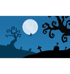 Tomb and dry tree scenery halloween vector