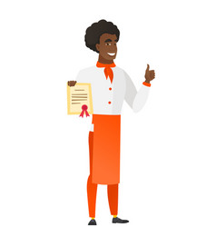 african-american chef cook holding a certificate vector image