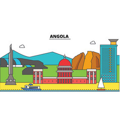 angola outline city skyline linear vector image vector image