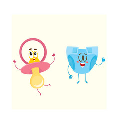 Baby dummy pacifier and diaper nappy characters vector