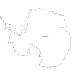 Black White Antarctica Outline Map vector image vector image
