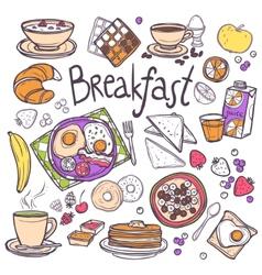 Breakfast icons set vector
