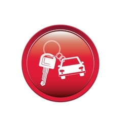 Button car shaped keychain icon vector