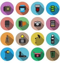 Camera and accessory flat long shadow icon set vector image