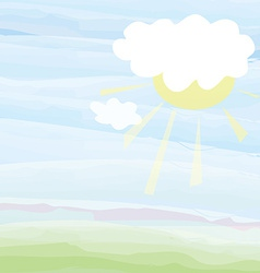 Card with sky and sun - pastel color vector