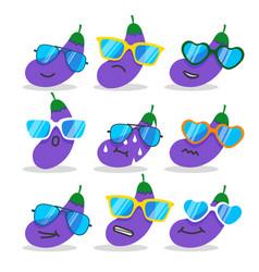 cartoon eggplant emojis with sunglasses vector image
