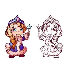 Christmas of funny Snow-Maiden vector image vector image