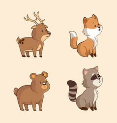 collection cute animal wildlife image vector image vector image