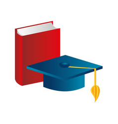Color silhouette with book and graduation hat vector