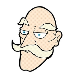 comic cartoon old man face vector image vector image
