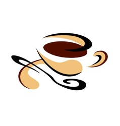 Cup of freshly brewed espresso coffee vector image vector image