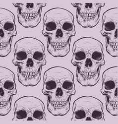 decorative human skulls seamless pattern vector image vector image