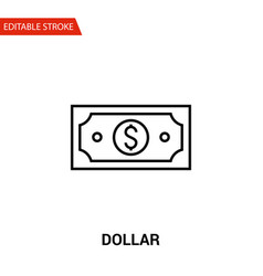 dollar icon thin line vector image vector image
