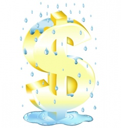 dollar sign in the rain vector image