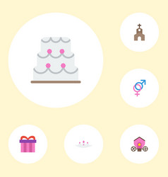 Flat icons sexuality symbol patisserie chariot vector