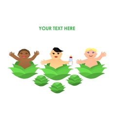 Funny little flat children in cabbage vector