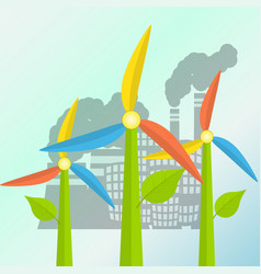 green energy concept with windmills stylized as a vector image