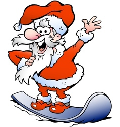 Hand-drawn of an Happy Santa on snowboard vector image