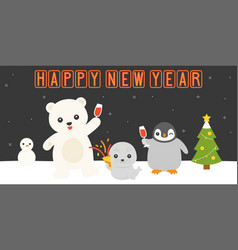 happy new year retro neon led light vector image vector image