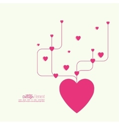Heart with intersecting curved lines vector