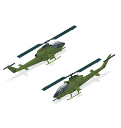 isometric single-engine attack helicopter vector image vector image