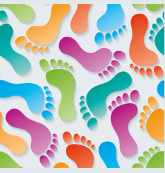 Multicolor footprints 3d seamless wallpaper vector