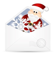 Open envelope with snowflakes and Santa Claus vector image vector image