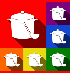 Pan with steam sign set of icons with vector