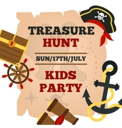 Pirates kids party announcement poster vector