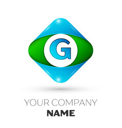 Realistic letter g logo in colorful rhombus vector